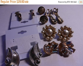 Spring Sale 6 Vintage Costume Jewelry Clip on earrings Pairs
