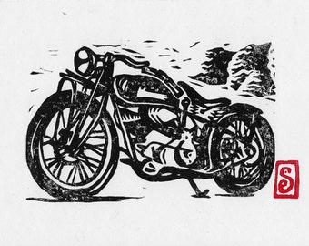 Indian Motorcycle Wood Block  Print