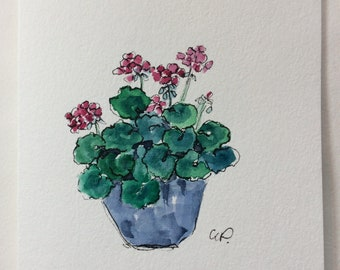 Geraniums Watercolor Card / Hand Painted Watercolor Card