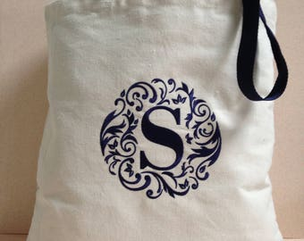 Custom Embroidered Initial Tote Bag