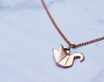 Rose Gold Plated Origami Crane Pendant Necklace with Fine Rose Gold Filled Chain
