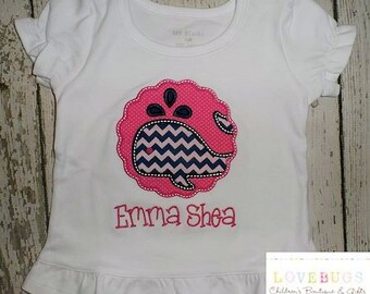Custom Girls Whale Scallop Patch Shirt ~ Embroidered, Monogrammed, Applique ~ Many Sizes Available!