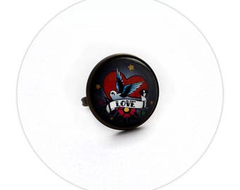 Faith and Love Swallow Old School Tattoo Rockabilly - Small Round Ring