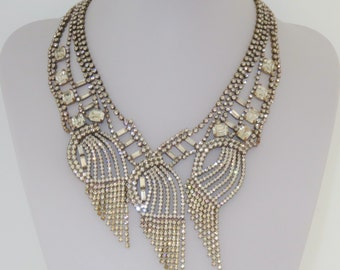 Extravagant Art Deco Crystal Rhinestone Multilayer Necklace Czechoslovakia