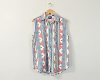 Sleeveless Denim Blouse, Vintage 90s Blouse, 90s Southwestern Blouse, 90s Print Tank Top, Faded Denim Shirt, Oversized Sleeveless Oxford