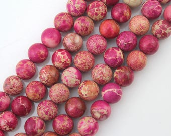 Natural Hot Pink Imperial beads, Emperor stone,Emperor Beads Round Beads,for Jewelry Making, Beads-about -15inch-One Full Strand-NS-010