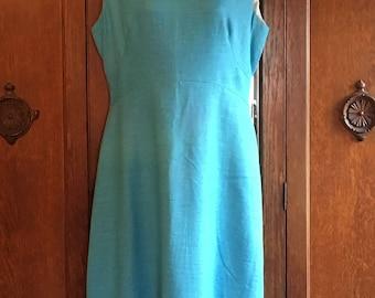 Alison Ayres Vintage 1960s Turquoise Dress