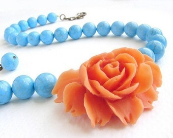 Statement necklace, Tangerine Rose turquoise stones, Coral Orange statement Necklace, Flower Necklace, Bridesmaid jewelry