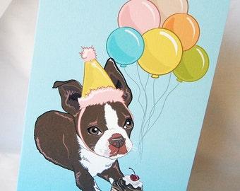 Brown Boston Terrier 'n Balloons Greeting Card