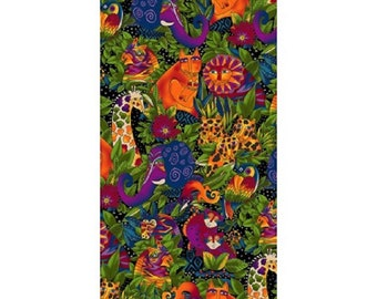 Wild Ones Flannel by Laurel Burch Clothworks Cotton Fabric Y2327-3 Black Packed Animals- Free shipping U.S.