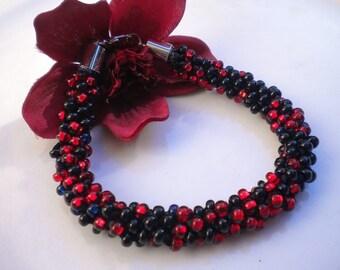 Kumihimo  Ruby Onyx Czech Glass Beads Beaded Bracelet Braided Bracelet
