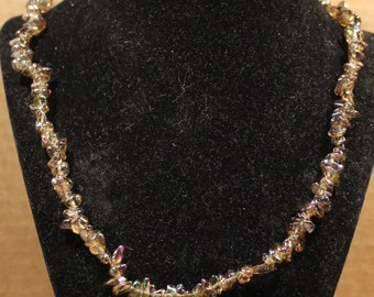 Ginger Ale Iridescent Chipped Stone Necklace