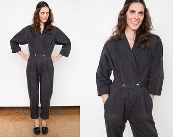 Reserved for Hito - Vintage 1980's I Faded Black I New Wave I Cotton I Jumpsuit I S