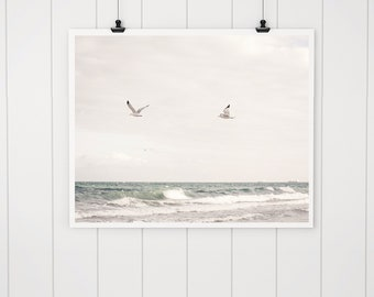 Ocean photography, beach wall art, beach decor, ocean art print, ocean decor, beach house decor, seagull photo, beach cottage