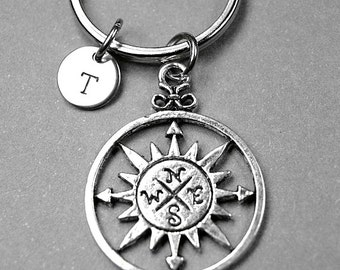 Compass keychain, Compass keyring, Personalized Keychain, Guys Gift, initial keychain, boyfriend gift, custom keychain, monogram charm