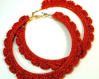 """Crochet Ruffled Hoop Earring 2.75 """""""