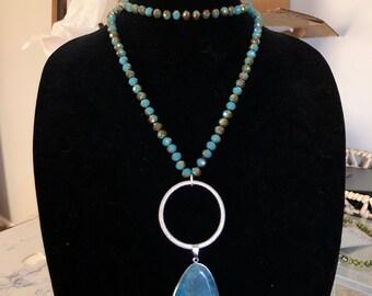 Blue double wrap stone necklace