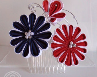 Chrysanthemums Kiku Tsumami kanzashi comb  with a butterfly, blue, red and white cotton haircomb.