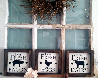 Farm Fresh Farmhouse Kitchen Signs, Set of 3, Farm Animals - Pig, Cow, Chicken, Reclaimed Wood Signs, Rustic Decor, Cottage Chic