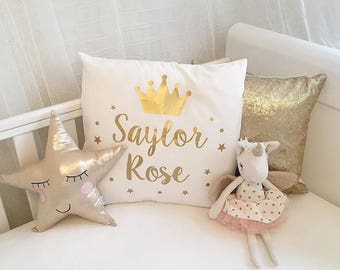 Personalised Magical Princess Crown Cushion, Children's Gifts - Home and Living - Bedroom - Princesses Fairy Magical Cushion - Customisable