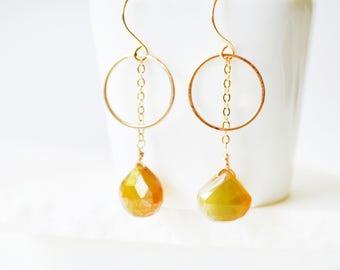 Gemstone Earrings, Teardrop earrings, Long Gold Earrings, Dangle Earrings, Crystal Earrings, Long Earrings, Dainty Earrings, Gold Earrings