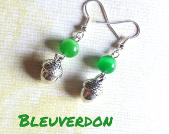 Acorn and green cat's eye earrings