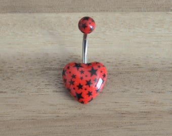 Red and Black Star Print Heart Shape Acrylic Belly Button Ring Navel Body Piercing Jewelry
