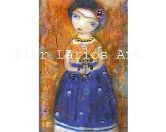 Frida Kahlo avec singe - Folk Art (5 x 10 pouces PRINT) par FLOR LARIOS