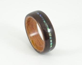 Wood Ring, Ebony & Padauk with Abalone Inlay, Mens Wood Ring, Womens Wood Ring, Wood Engagement Ring, Wood Wedding Band, Wooden Ring