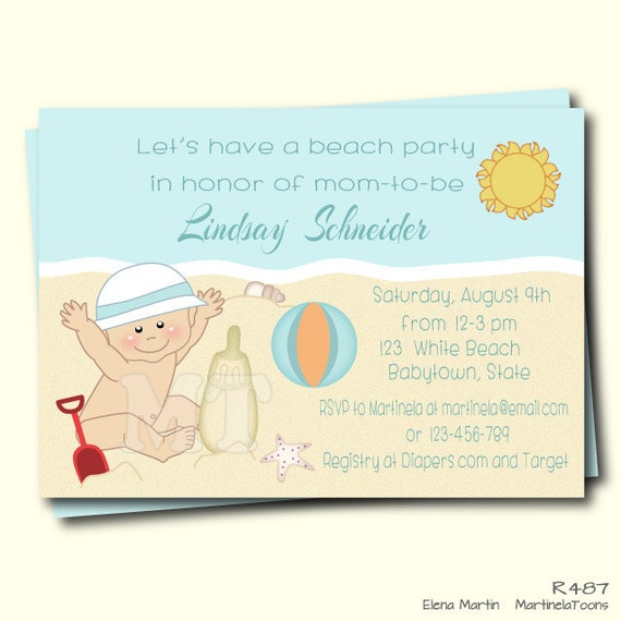 Beach baby shower invitation summer baby shower invite beach beach baby shower invitation summer baby shower invite beach theme baby boy shower invitation printable invitation boy baby shower blue filmwisefo Image collections