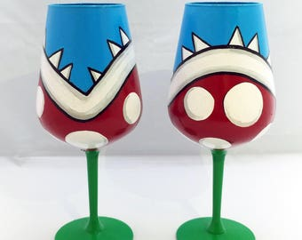 Mario Piranha Plant Inspired wine glasses - set of 2
