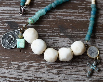Unlisted - Rustic Relic Necklace - Skull Necklace - White and Teal - Primitive Necklace - Boho Rustic - Bead Soup Jewelry