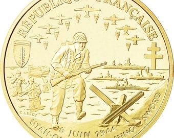 coin france débarquement allié franc 1993 ms(63) gold km1015