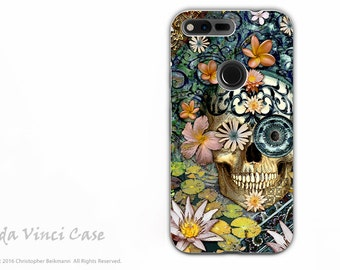 Sugar Skull Google Pixel XL Tough Case - Dual Layer Protection - Bali Botaniskull - Floral Skull Dia De Los Muertos Pixel XL Case