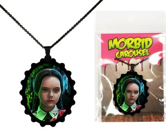 Addams Family Wednesday Portrait Necklace