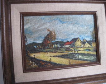 Vintage Signed Small Framed  Oil Painting European Landscape