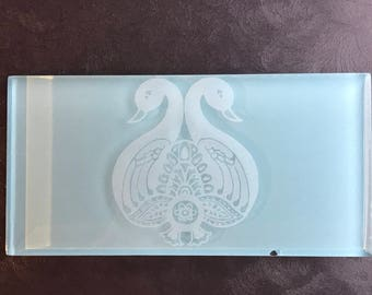Subway tile with etched Double Swan featured in Aqua