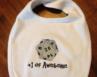 Gamer Inspired 20 Sized Die Embroidered Baby Bib