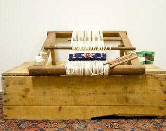 Vintage 80s Oriental Rug Loom Table Top