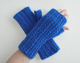 Blue Fingerless Gloves / Bright Blue Texting Gloves / Cables / Armwarmers