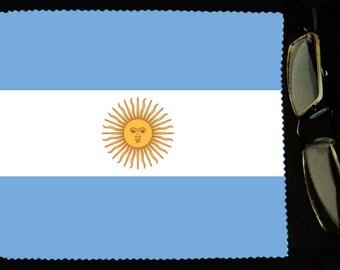 Cloth wipes glasses flag Argentina