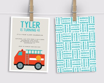 Fire Truck Birthday Invitation, Fireman Party Invitation, Fire Engine Party Invitation, Printed Invitation, Printable Invitation