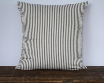 Farmhouse Gray French Ticking Pillow Cover, Decorative Pillow Cover, Farmhouse Pillow Cover, Custom Couch Pillow - GRAY STRIPE