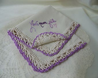Love Never Fails, Ladies handkerchief, Ladies Hanky, Ladies Hankie, Inspirational, Hand Crochet, Lace, Lavender, Purple, Ready to ship