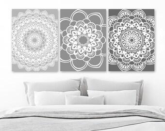 Mandala Wall Art, Gray BATHROOM Wall Decor, CANVAS Or Print, Gray Ombre  Mandala