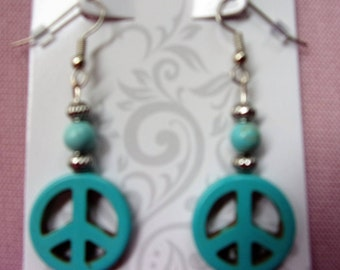 Turquoise Magnesite peace sign earrings