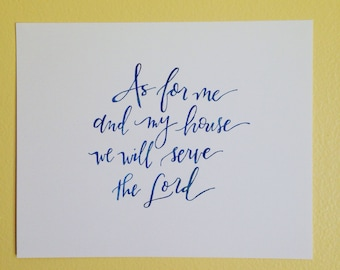 as for me and my house || hand lettered print