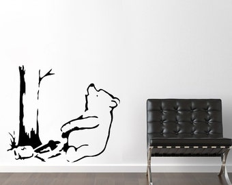 Banksy Stencils. Winnie The Pooh Bear, Pooh Bear Trapped Reusable Banksy Stencils, Ideal for painting walls, use for home wall decor