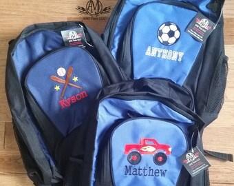 Boys backpack, personalized backpack, monster truck backpack, big backpack,