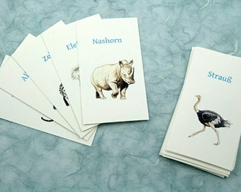 Exotic Animals in Russian, French, English, German: Translation cards, Flash cards, Word game, children's game, learn a language